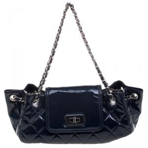 Chanel Navy Blue Quilted Patent Leather Reissue Accordion Flap Bag