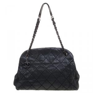 Chanel Black Quilted Iridescent Leather Just Mademoiselle Bowling Bag