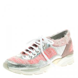 Chanel Pink Tweed and Holographic Leather Lace Up Sneakers Size 37