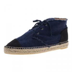 Chanel Blue Denim Espadrille Sneakers Size 41