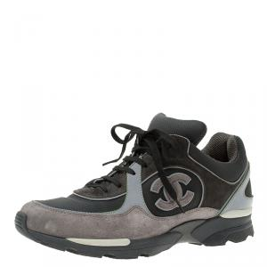 Chanel Black and Grey Suede and Leather CC Sneakers Size 40.5