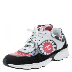 Chanel Multicolor Printed Leather and Suede CC Sneakers Size 39.5