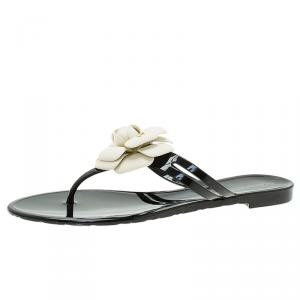Chanel Black and White Jelly Camellia Thong Sandals Size 40