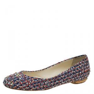 حذاء باليه فلات شانيل قماش تويد أحمر وأزرق مرصع بكريستالات سواروفسكي مقاس 37.5