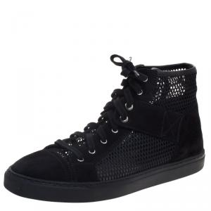 Chanel Black Suede and Mesh High Top Sneakers Size 38