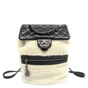 Chanel Bi Color Quilted Leather/Shearling Small Mountain Backpack