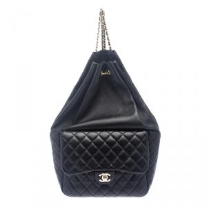 Chanel Black Quilted Leather Large Seoul Backpack