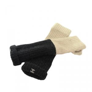 Chanel Black and Beige Wool Fingerless Gloves
