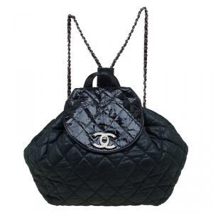 Chanel Black Quilted Iridescent Leather In the Mix Backpack