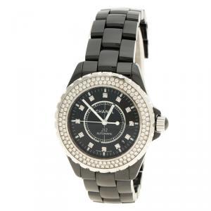 Chanel Black Ceramic J12 Diamonds Women's Wristwatch 39 mm