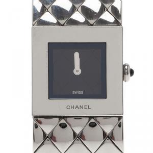 Chanel Black Stainless Steel Matelasse Women's Wristwatch 19MM