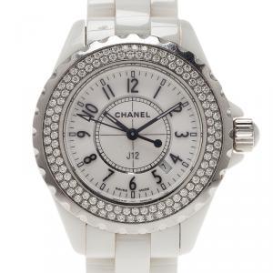 Chanel White Ceramic J12 Diamond H0967 Women's Wristwatch 33MM