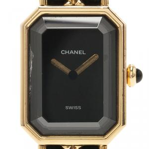 Chanel Black Gold-Plated Stainless Steel Premiere Women's Wristwatch 20MM