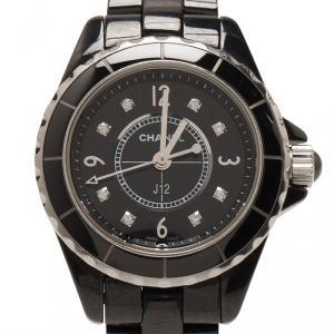 Chanel Black Ceramic J12 Women's Wristwatch 29MM