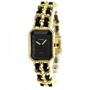 Chanel Black Gold-Plated Steel Premiere Women's Wristwatch 20MM