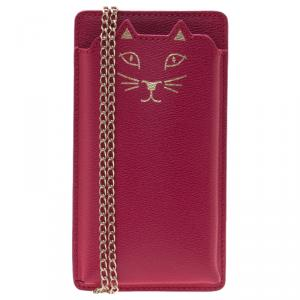 Charlotte Olympia Magenta Leather Feline iPhone 6 Case with Chain