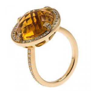 Chaumet Attrape Moi Citrine Diamond Yellow Gold Ring Size 54