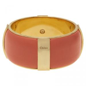 Chloe Pink Leather Gold Tone Bangle Bracelet