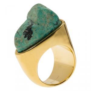 Chloe Bettina Green Natural Stone Gold Tone Ring Size 56