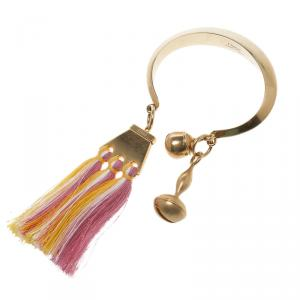 Chloe Janis Pastel Pink Fringe & Gold Tone Open Cuff Bracelet S