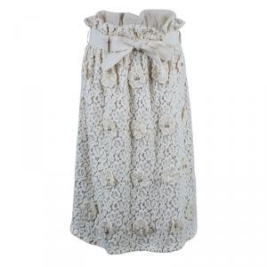 Chloe Offwhite Floral Skirt M