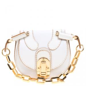 Chloe White Leather Chain Pouch