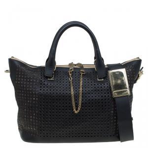 Chloe Black Perforated Leather Medium Baylee Tote
