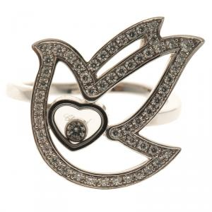 Chopard Happy Diamond Dove 18k White Gold Ring Size 53