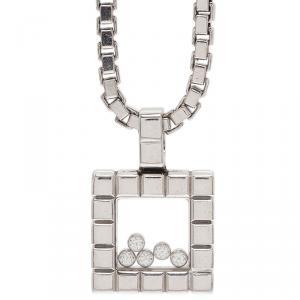 Chopard Ice Cube 5 Diamonds White Gold Pendant Necklace