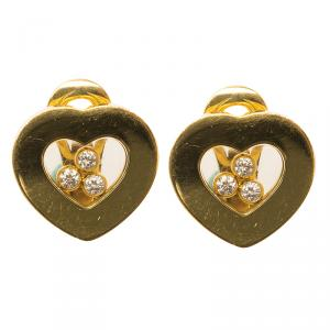 Chopard Happy Curves Diamonds & Yellow Gold Stud Earrings
