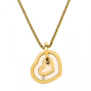 Chopard Happy Diamonds Diamond Yellow Gold Heart Pendant Chain Necklace