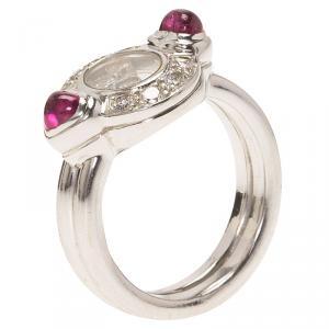 Chopard Happy Diamonds Sapphire Diamond White Gold Ring Size 56