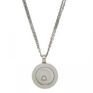 Chopard Happy Spirit Diamond & White Gold Pendant Double Chain Necklace