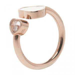Chopard Happy Hearts Mother Of Pearl & Diamond 18k Rose Gold Ring Size 54