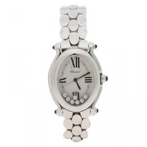 Chopard White Stainless Steel Diamond Happy Sport Women's Wristwatch 29MM