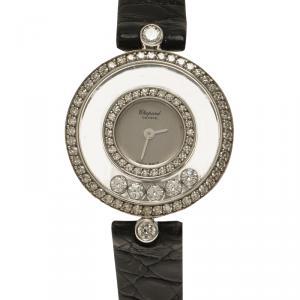 Chopard Silver 18K White Gold Diamond Happy Diamonds Icon Women's Wristwatch 25MM