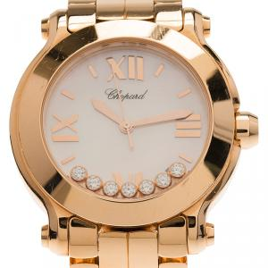 Chopard Mother of Pearl 18K Rose Gold Happy Sport Women's Wristwatch 36MM