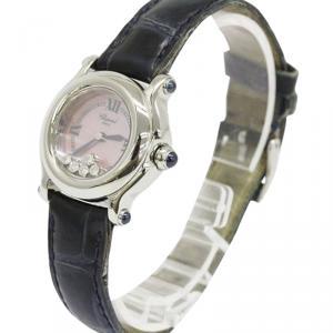 Chopard Pink Mother of Pearl Stainless Steel Happy Sport Women's Wristwatch 26MM