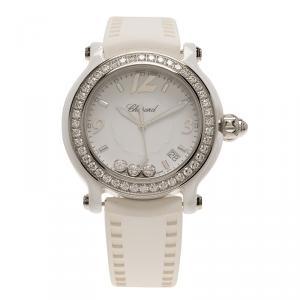 Chopard White Ceramic Happy Sport Diamond Women's Wristwatch 36MM