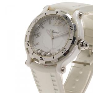 Chopard White Stainless Steel and Ceramic Happy Sport Limited Edition Women's Wristwatch 36MM