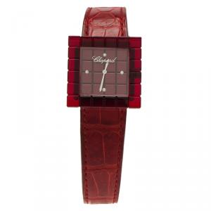 Chopard Red Resin & Stainlee Steel Ice Cube Be Mad Women's Wristwatch 31MM