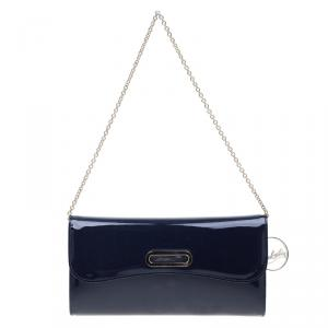 Christian Louboutin Navy Blue Patent Leather Riviera Clutch