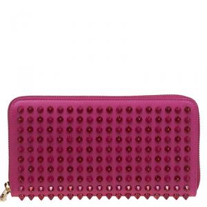 Christian Louboutin Pink Leather Studded Spike Continental Wallet