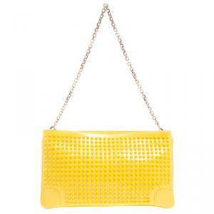 Christian Louboutin Yellow Patent Leather Studded Loubiposh Clutch