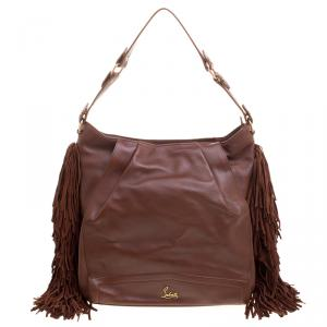 Christian Louboutin Brown Leather Justine Fringed Hobo