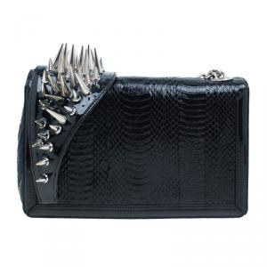 Christian Louboutin Black Python Spike Shoulder Bag