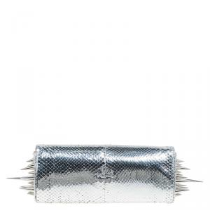 Christian Louboutin Silver Python Marquise Spiked Clutch