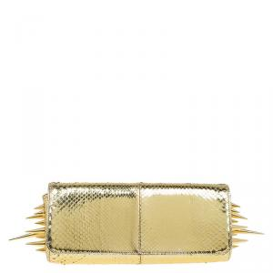 Christian Louboutin Gold Python Marquise Spiked Clutch