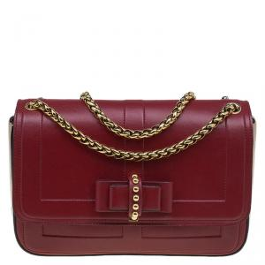 Christian Louboutin Red/Beige Leather Sweet Charity Shoulder Bag