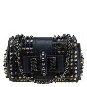 Christian Louboutin Black Leather Spike Sweet Charity Mini Crossbody Bag